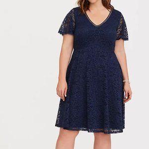 NWT Torrid Lace V Neck Flutter Sleeve Dress Blue